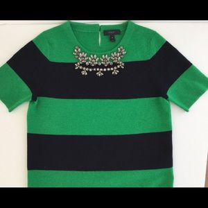 JCREW Preppy Stripe beaded sweater rhinestones xs
